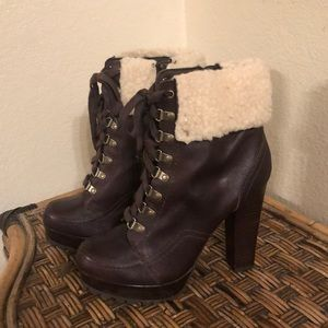 Leather/Faux fur upper Ankle boots